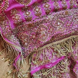 Antique Silk Bridal Indian Dupatta Pink Gold Bead